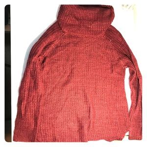 Red turtle neck sweater